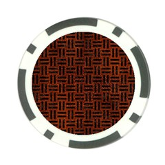 Woven1 Black Marble & Reddish Brown Leather Poker Chip Card Guard (10 Pack) by trendistuff