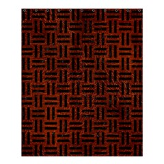 Woven1 Black Marble & Reddish Brown Leather Shower Curtain 60  X 72  (medium)  by trendistuff