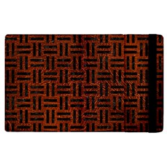 Woven1 Black Marble & Reddish Brown Leather Apple Ipad 2 Flip Case by trendistuff