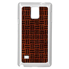 Woven1 Black Marble & Reddish Brown Leather Samsung Galaxy Note 4 Case (white) by trendistuff
