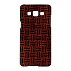 Woven1 Black Marble & Reddish Brown Leather Samsung Galaxy A5 Hardshell Case  by trendistuff