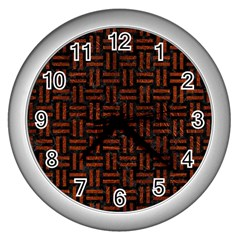 Woven1 Black Marble & Reddish Brown Leather (r) Wall Clocks (silver)  by trendistuff