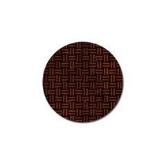 Woven1 Black Marble & Reddish Brown Leather (r) Golf Ball Marker (10 Pack) by trendistuff