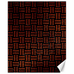 Woven1 Black Marble & Reddish Brown Leather (r) Canvas 16  X 20   by trendistuff