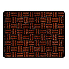 Woven1 Black Marble & Reddish Brown Leather (r) Fleece Blanket (small) by trendistuff