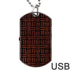 Woven1 Black Marble & Reddish Brown Leather (r) Dog Tag Usb Flash (one Side) by trendistuff