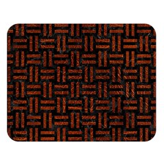 Woven1 Black Marble & Reddish Brown Leather (r) Double Sided Flano Blanket (large)  by trendistuff