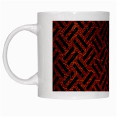 Woven2 Black Marble & Reddish Brown Leather White Mugs by trendistuff