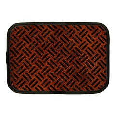 Woven2 Black Marble & Reddish Brown Leather Netbook Case (medium)  by trendistuff