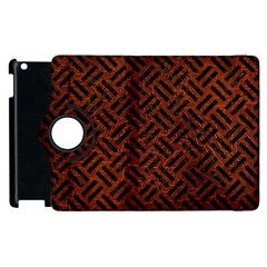Woven2 Black Marble & Reddish Brown Leather Apple Ipad 3/4 Flip 360 Case by trendistuff
