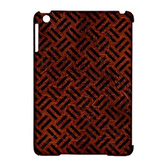 Woven2 Black Marble & Reddish Brown Leather Apple Ipad Mini Hardshell Case (compatible With Smart Cover) by trendistuff