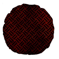 Woven2 Black Marble & Reddish Brown Leather Large 18  Premium Round Cushions by trendistuff