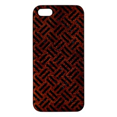 Woven2 Black Marble & Reddish Brown Leather Apple Iphone 5 Premium Hardshell Case by trendistuff