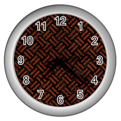 Woven2 Black Marble & Reddish Brown Leather (r) Wall Clocks (silver)  by trendistuff