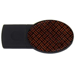 Woven2 Black Marble & Reddish Brown Leather (r) Usb Flash Drive Oval (4 Gb) by trendistuff