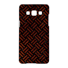 Woven2 Black Marble & Reddish Brown Leather (r) Samsung Galaxy A5 Hardshell Case  by trendistuff
