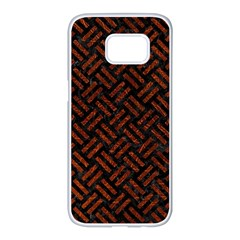 Woven2 Black Marble & Reddish Brown Leather (r) Samsung Galaxy S7 Edge White Seamless Case by trendistuff