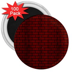 Brick1 Black Marble & Reddish Brown Wood 3  Magnets (100 Pack) by trendistuff