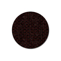 Brick1 Black Marble & Reddish Brown Wood (r) Magnet 3  (round)
