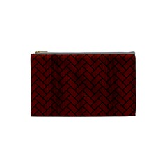 Brick2 Black Marble & Reddish Brown Wood Cosmetic Bag (small)  by trendistuff