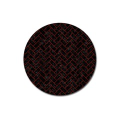 Brick2 Black Marble & Reddish Brown Wood (r) Magnet 3  (round)