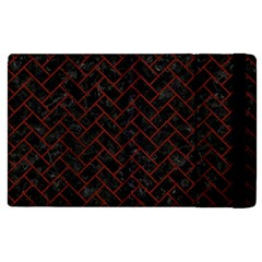 Brick2 Black Marble & Reddish Brown Wood (r) Apple Ipad 2 Flip Case by trendistuff