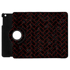 Brick2 Black Marble & Reddish Brown Wood (r) Apple Ipad Mini Flip 360 Case by trendistuff