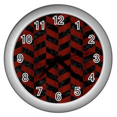 Chevron1 Black Marble & Reddish Brown Wood Wall Clocks (silver)  by trendistuff