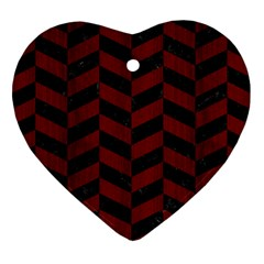 Chevron1 Black Marble & Reddish Brown Wood Heart Ornament (two Sides)