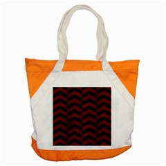 Chevron2 Black Marble & Reddish Brown Wood Accent Tote Bag by trendistuff