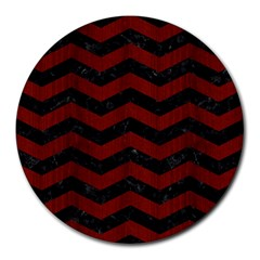 Chevron3 Black Marble & Reddish Brown Wood Round Mousepads