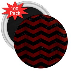 Chevron3 Black Marble & Reddish Brown Wood 3  Magnets (100 Pack) by trendistuff