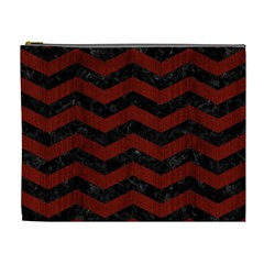 Chevron3 Black Marble & Reddish Brown Wood Cosmetic Bag (xl) by trendistuff