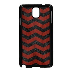 Chevron3 Black Marble & Reddish Brown Wood Samsung Galaxy Note 3 Neo Hardshell Case (black) by trendistuff