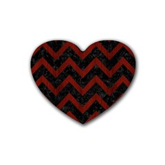 Chevron9 Black Marble & Reddish Brown Wood (r) Rubber Coaster (heart)  by trendistuff