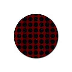 Circles1 Black Marble & Reddish Brown Wood Rubber Coaster (round)  by trendistuff