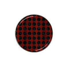 Circles1 Black Marble & Reddish Brown Wood Hat Clip Ball Marker (4 Pack) by trendistuff