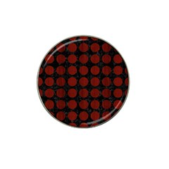 Circles1 Black Marble & Reddish Brown Wood (r) Hat Clip Ball Marker (4 Pack) by trendistuff