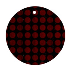 Circles1 Black Marble & Reddish Brown Wood (r) Round Ornament (two Sides) by trendistuff
