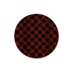 Circles2 Black Marble & Reddish Brown Wood Magnet 3  (round) by trendistuff