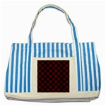 CIRCLES2 BLACK MARBLE & REDDISH-BROWN WOOD Striped Blue Tote Bag Front
