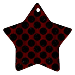 Circles2 Black Marble & Reddish Brown Wood Star Ornament (two Sides) by trendistuff