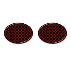 Circles3 Black Marble & Reddish Brown Wood Cufflinks (oval) by trendistuff