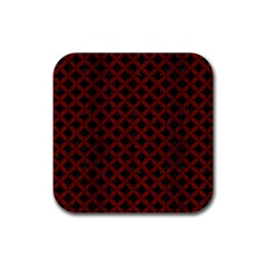 Circles3 Black Marble & Reddish Brown Wood (r) Rubber Coaster (square)  by trendistuff