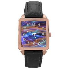 Abstract Shiny Night Lights 16 Rose Gold Leather Watch  by tarastyle