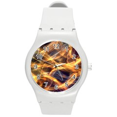 Abstract Shiny Night Lights 19 Round Plastic Sport Watch (m) by tarastyle