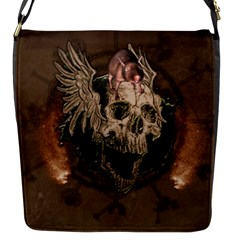 Awesome Creepy Skull With Rat And Wings Flap Messenger Bag (s) by FantasyWorld7