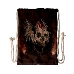 Awesome Creepy Skull With Rat And Wings Drawstring Bag (small) by FantasyWorld7