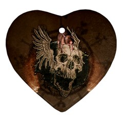 Awesome Creepy Skull With Rat And Wings Ornament (heart) by FantasyWorld7