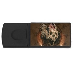 Awesome Creepy Skull With Rat And Wings Rectangular Usb Flash Drive by FantasyWorld7